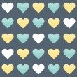 Seamless pattern with yellow mint and white hearts over blue — Stock Vector #46157707