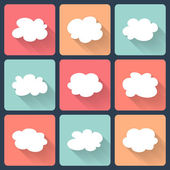 Cloud flat icon set — Stock Vector