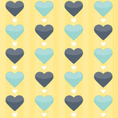 Seamless pattern with blue and mint hearts on a yellow — Stock Vector
