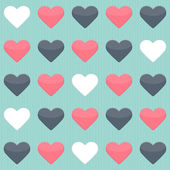 Seamless pattern with blue red and white hearts over mint — Stock Vector