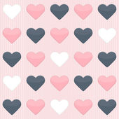 Seamless pattern with cute colorful hearts on a pink — Stock Vector