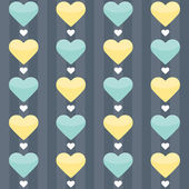 Seamless pattern with mint and yellow hearts on a blue — Stock Vector
