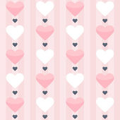 Seamless pattern with pink and white hearts on a pink — Stock Vector