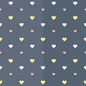Seamless pattern with white yellow and pink hearts on a blue — Stock Vector