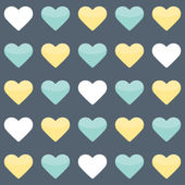 Seamless pattern with yellow mint and white hearts over blue — Stock Vector