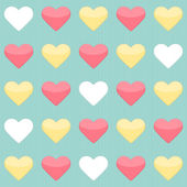 Seamless pattern with yellow red and white hearts over mint — Stock Vector