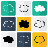 Black and white flat cloud icons — Stock Vector