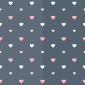Seamless pattern with white and pink hearts on a blue — Stock Vector