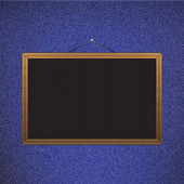 Vector Black chalkboard with brown corners over jeans — Stock Vector
