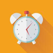 Alarm clock flat icon over yellow — Stock Vector