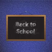 Black chalkboard over jeans back to school — Stock Vector