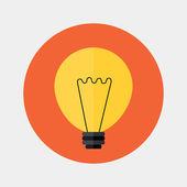 Flat orange lamp icon over red — Stock Vector