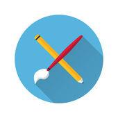 Pinsel und Bleistift-Symbol — Stockvektor