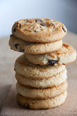 Chocolate chip cookies stack — Stock Photo