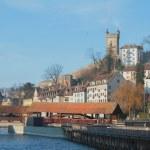 Shproyerbryukke Bridge (Spreuerbrücke) on river Ryoyss (Reuss). Lucerne, Switzerland — Stock Photo