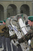 Musician of youth military orchestra. Bern, Switzerland — Zdjęcie stockowe