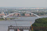 Apollo Bridge (Most Apollo) and Franz Josef Bridge dismantle. Bratislava, Slovakia — Stock Photo