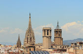 Gothic spikes and towers of temples. Barcelona, Spain — Stock Photo