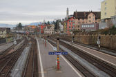 Passenger platform on railroad. Talvil, Switzerland — Stock Photo