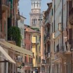 Постер, плакат: Giuseppe Mazini Street tower Lamberti Verona Italy