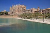 Park-de-la Mar and Cathedral Santa Maria. Palma-de-Majorca, Spain — Stock Photo