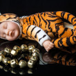 A baby tiger toy next to metal stone heart — Stock Photo #39987121