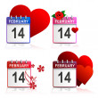 Set calendars Valentines - white background — Vector de stock