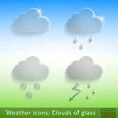 Weather icons Clouds of glass on a nature background — 图库矢量图片