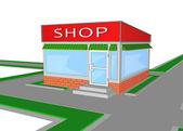 Mini market shop store retail shopping — Stock Vector
