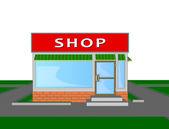 Mini market shop store retail shopping face — Stock Vector