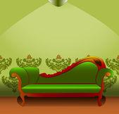 Grön soffa — Stockvektor