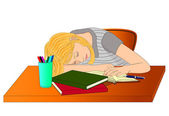 Sleeping student girl — Stock Vector