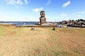 Standing moai in Hanga Roa harbour in Easter Island — Stock Photo