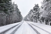 Snowy street through forest — Stock Photo