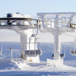 Ski lift covered in snow — Stock Photo