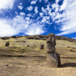 Stock Photo: Moais in hill in Easter Island