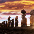 Stock Photo: Standing moais in Easter Island at sunrise