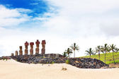 Seven moais standing on the beach in Easter Island — Stock Photo