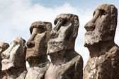 Faces of four moais in Easter Island — 图库照片