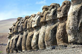 Row of standing moais in Easter Island — Stok fotoğraf