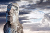 Face of a Moai covered in lichen in Easter Island — Stock Photo
