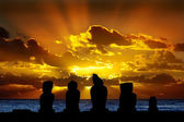 Moais in Easter Island at sunset — Stock Photo