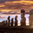 Standing moai in Easter Island at sunrise — Stock Photo #39732177
