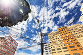 View from below of electrical lines on power pole in Rio de Jane — Stok fotoğraf