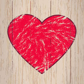 Red heart on a wooden background. — Stock Vector