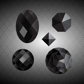 Black crystals. Gemstone. — Stock Vector