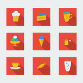 Flat icons for cafe — Stock Vector