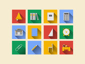 Flat icons for school supplies — Vector de stock