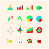 Icons for graphs and charts — Vettoriale Stock