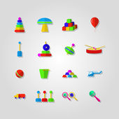 Icons for children toys — Stock Vector